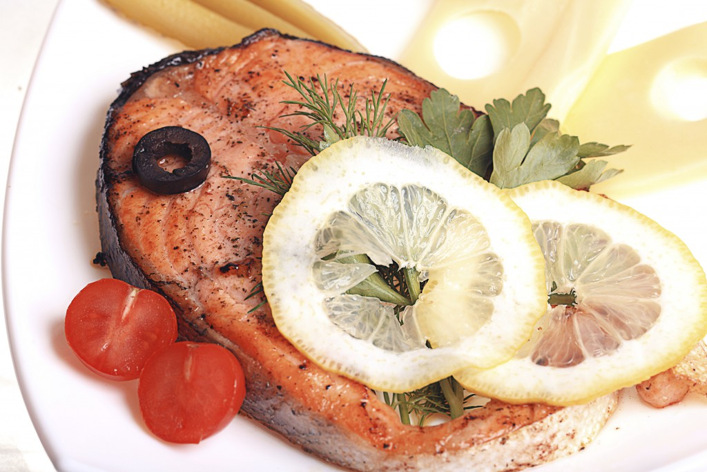 salmon grilled white background