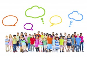 Large Group of Multiethnic Children Speech Bubbles