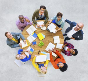 Group of Multiethnic People Looking Up